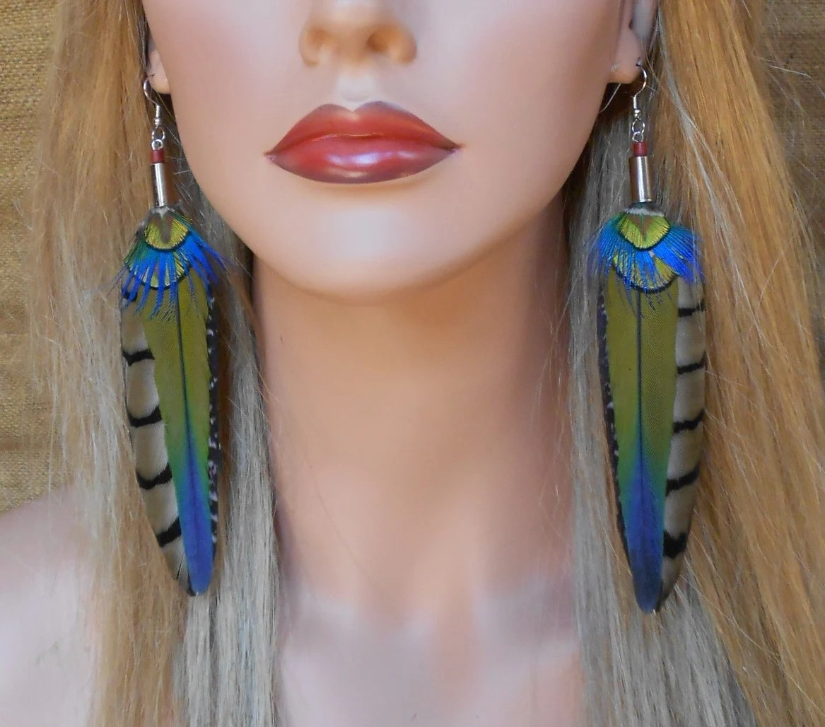 Beautiful Long Natural Feather Earrings
