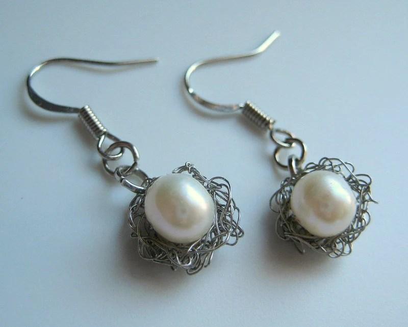 silver pearl crochet earrings