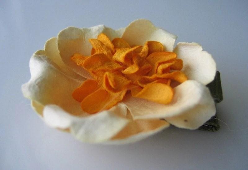 Yellow Flower hair clip
