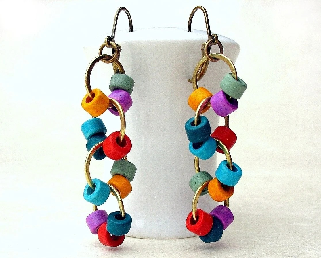 Hoops -n- Hoops, Brass Dangle Earrings with Greek Ceramic Beads by BacaCaraJewelry