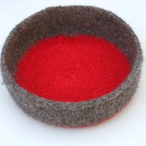Felted wool bowl-Spot of Red