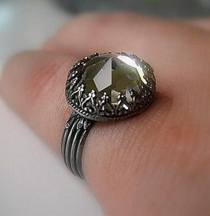 Vintage Crystal Sterling Ring by jorgensenstudio