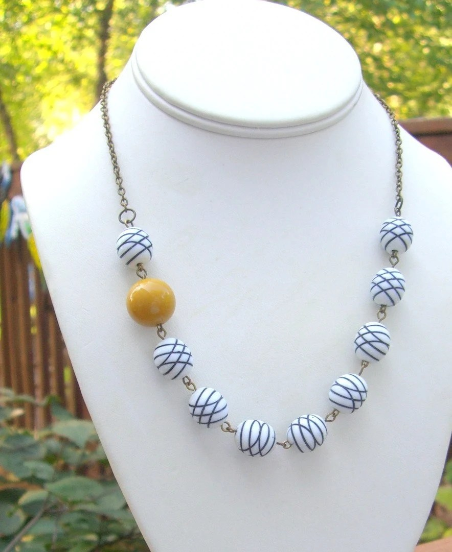 Preppy Necklace - Vintage Beads Navy and Mustard