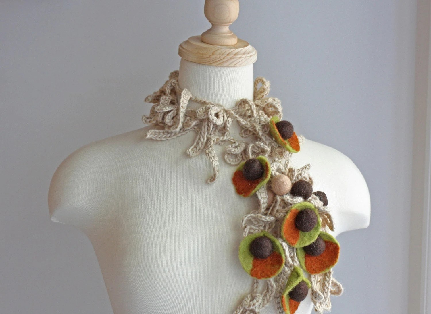 Super Long Crocheted With Felted Multicolored Pieces and Beads Necklace/Lariat/Scarf/Bracelet - made from Wool and Soy - in Handmade Felt and Freeform Crochet Techniques - in Beige, Nutmeg, Green, Brown - Inspired by Vintage Enamel Jewelry