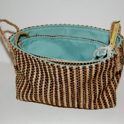 Upcycled Upholstery Fabric Nesting Baskets - Blue Delight