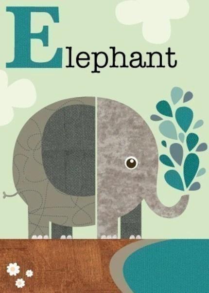 Letter E (elephant)