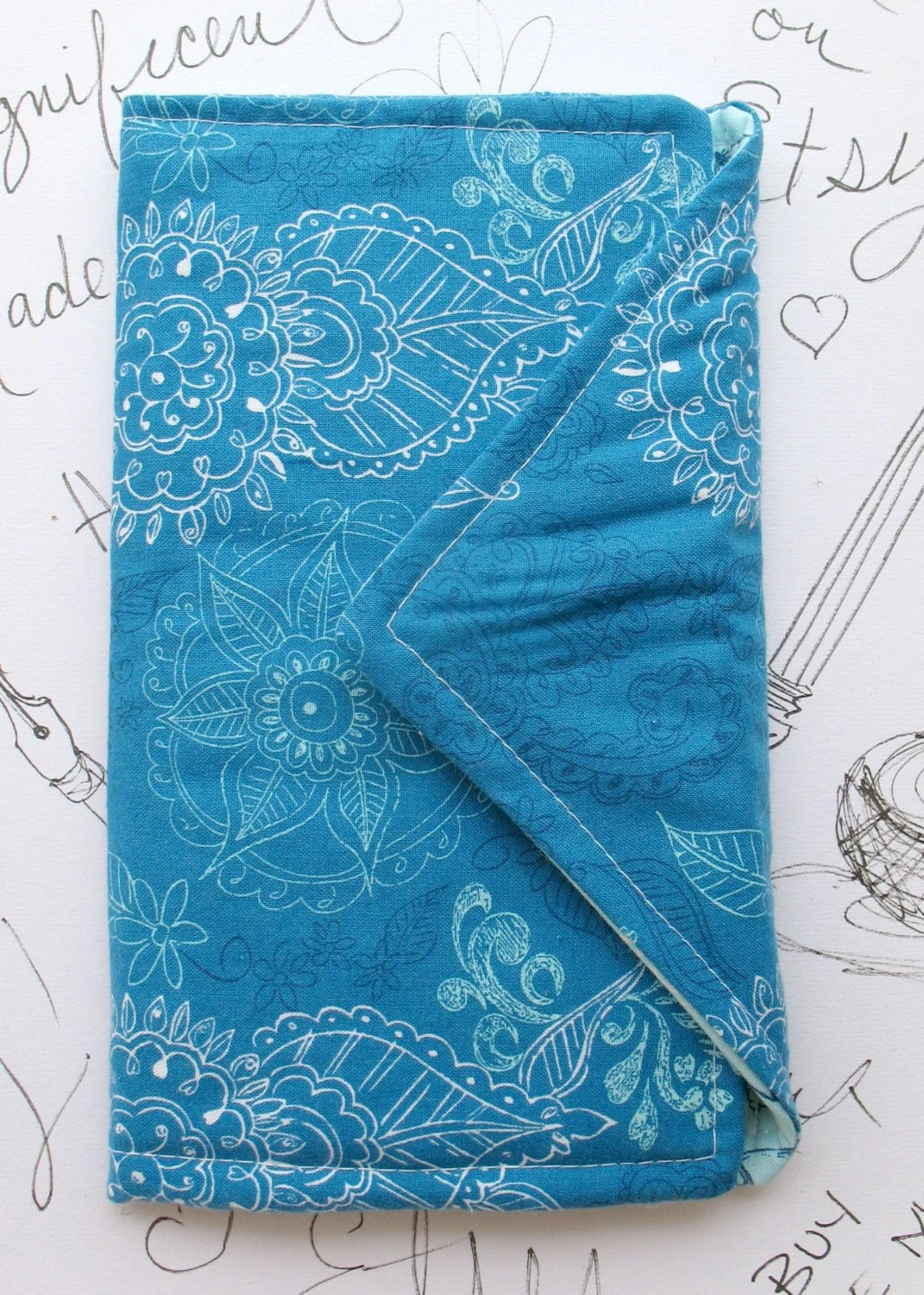 Sketches in Blue Fabric Book by Megnificent Made