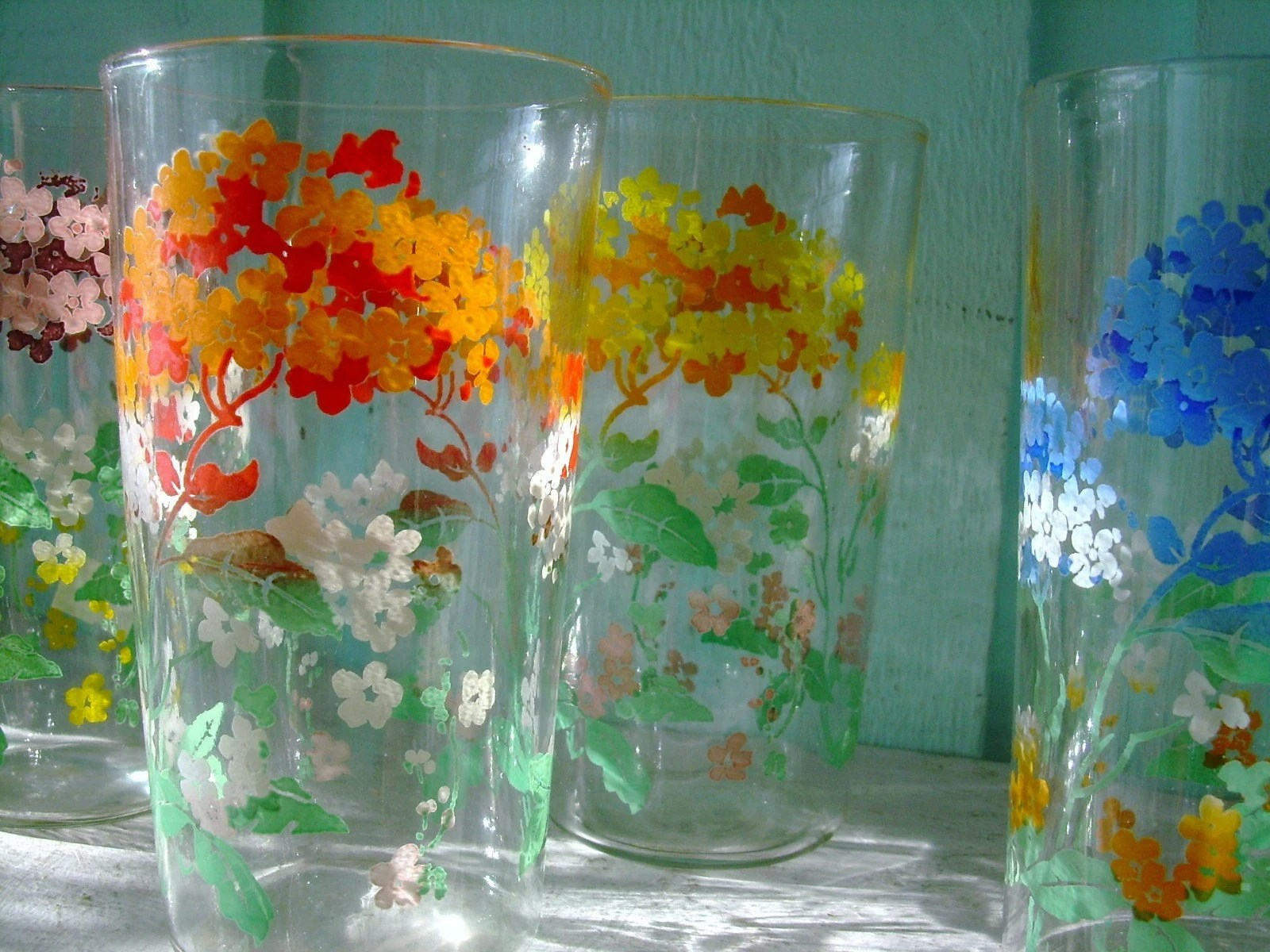 Vintage tree scene painted drinking glasses