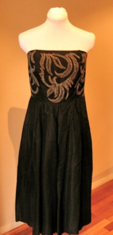 Vintage 1950s Black Acetate Taffeta Dress with Leaf Embroidery