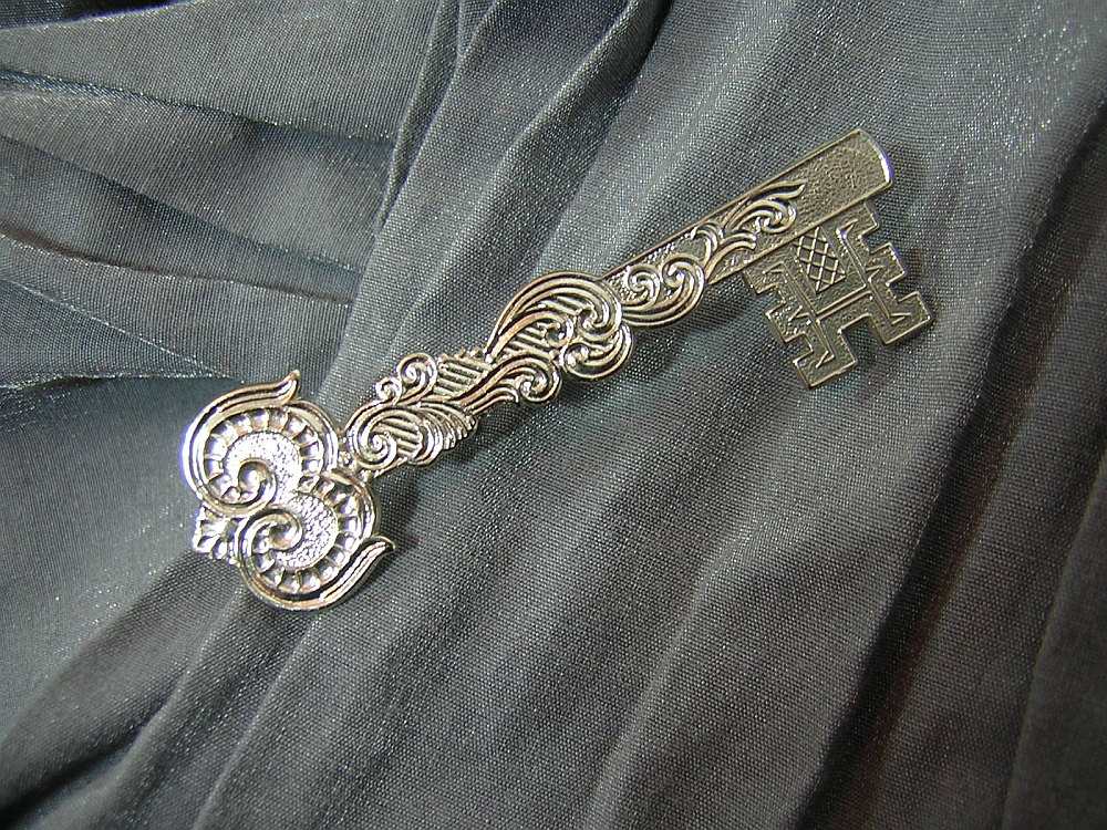 Fancy Silver Master Key Pin - Handmade by Rewondered D225P-00006 - $8.95