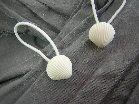 White Shell Hair Elastics Ponytail Holders by Rewondered D202E-00005