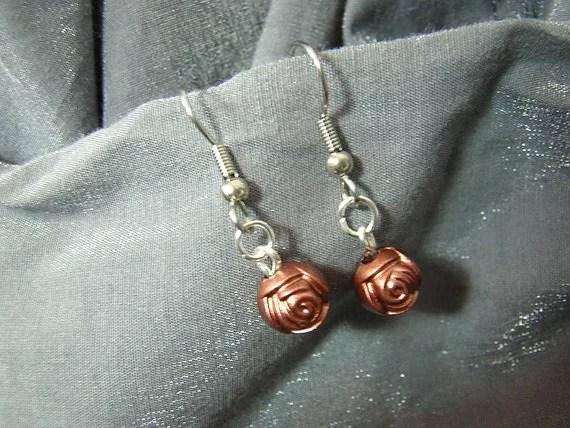 Copper Roses Handmade Single Bead Dangle Earrings D225E-55510 - $5.95