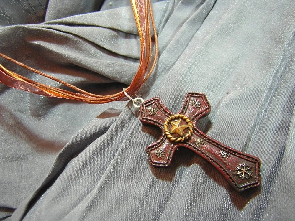 Brown Cross with Gold Star on Brown Fancy Ribbon Necklace - Handmade by Rewondered D225F-00004 - $12.95