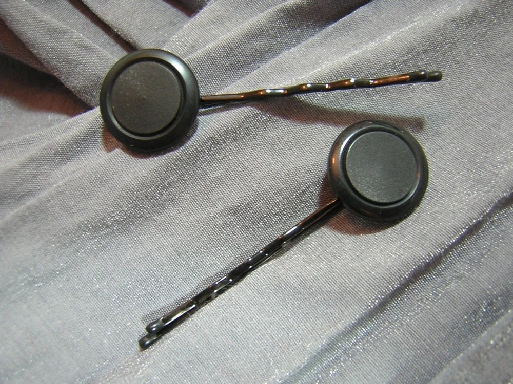 Black Round Button Hair Pins - Handmade by Rewondered D202P-00001 - $4.95