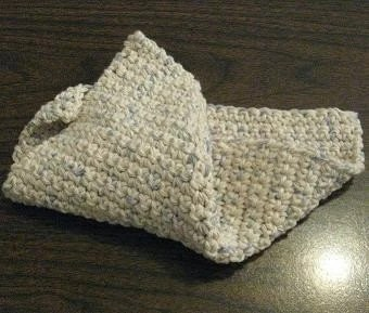 Crocheted Cotton Dishcloth - Blue Speckled