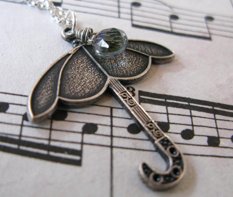 Singin' in the Rain Silver umbrella and Grade A mystic topaz chubby heart briolette necklace  LAST ONE