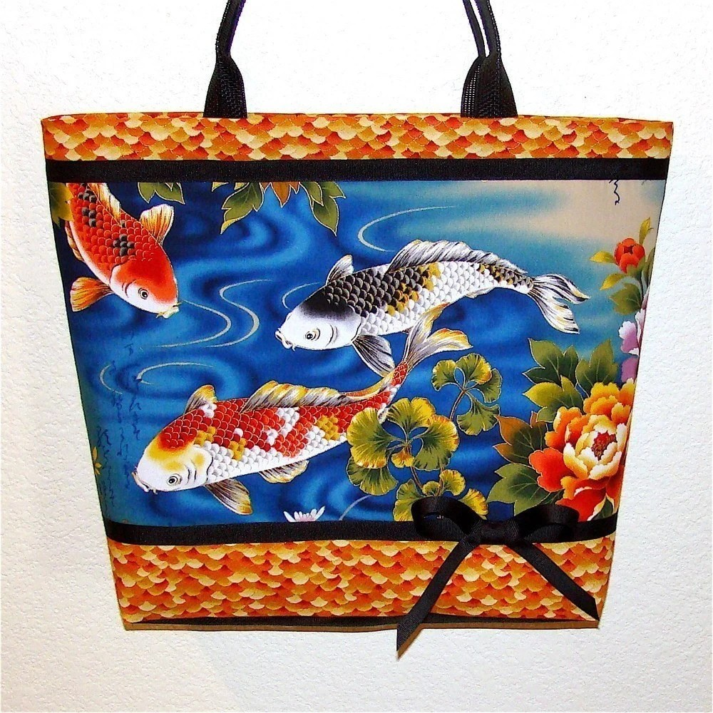 Koi tote bag, Black, orange, yellow fish, aqua waters, large