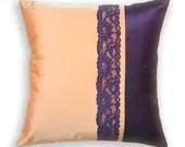 SELINE CUSHION New 16 inch Taffeta and Lace Pillow Cover in Peach and Eggplant