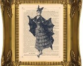VINTAGE GOTHIC BAT LADY 2 HALLOWEEN PRINT on Antique 1882 Upcycled Book Page paper, FREE WORLDWIDE SHIPPING, SPECIAL BUY ANY 4 PRINTS GET 2 MORE PRINTS FREE