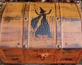 WITCHCRAFT Primitive Witch Spells Potions Magic Chest Trunk Box Candle Holder Astrology Tarot Cards Moon Cats Witches Pagan Celtic Wicca Trinkets Jewelry Box