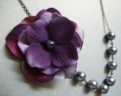 Sweet Amethyst, Velvet Purple Floral Grey Pearled Romantic Inspired Necklace