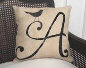 Bird  Letter Custom Monogram  - Burlap Feed Sack Pillow