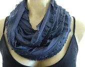 Dark Steel Blue....Flamenco..Necklace Scarf...Le dernier cri...