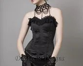 Black Satin Overbust Corset-Made to Measure (Your Size)