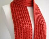 Hand Knit Scarf - Saffron Red