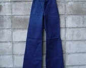 Vintage 1970s High Waist Denim Navy Jeans 28