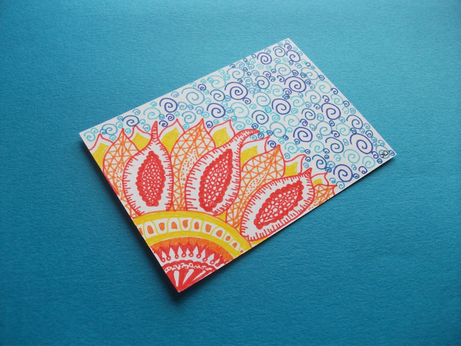 Bright Orange Flower, Original ACEO Ink Drawing