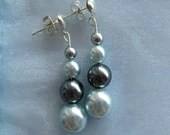 Czech Glass Blue Earrings : Silver Plated Dangle Earrings in Shades of Blue