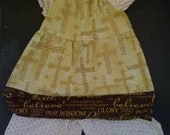 2 pc. suit...Peasant top....wide leg shorts...girls...cute....crosses...jesus....faith....brown....antique gold...Free shipping