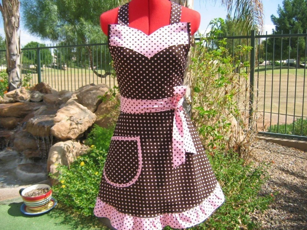 Chocolate Polka Dot - Ruffled Susie Sassy Apron