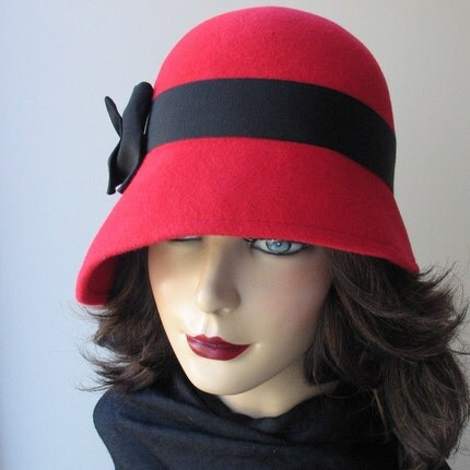 Red Wool Cloche Hat