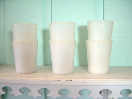 VINTAGE OPALESCENT MILK GLASS TUMBLERS SET OF 6