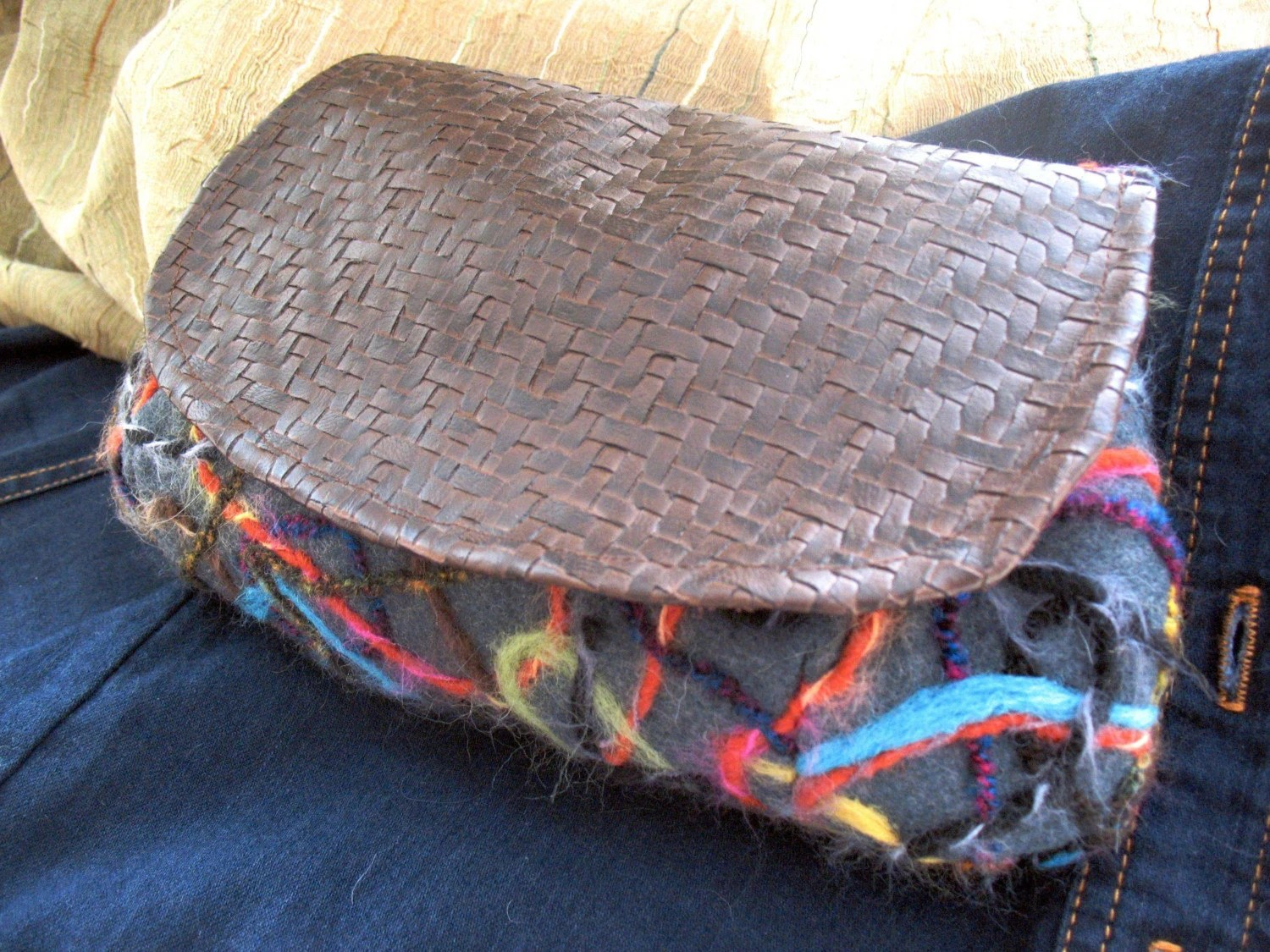 Needle Felted Leather Clutch By Megnificent Made