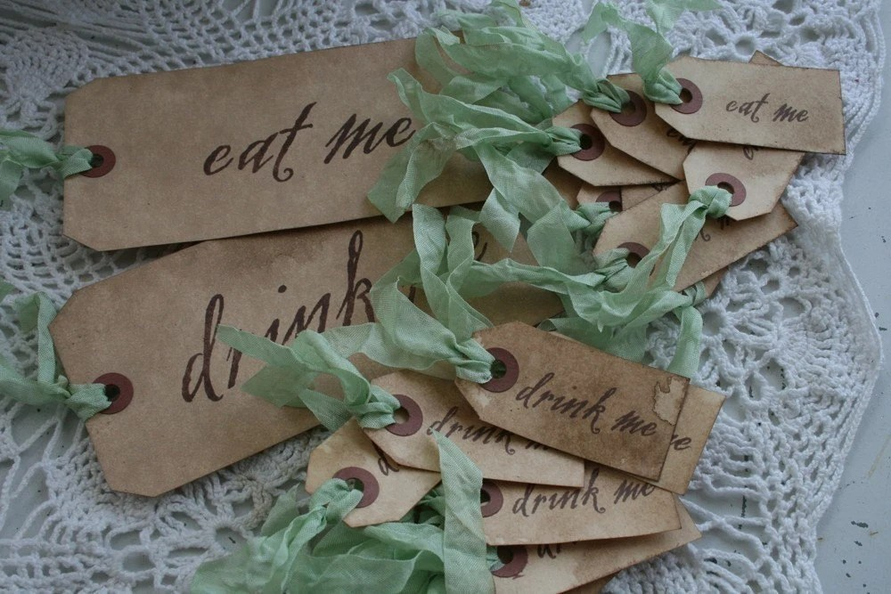 BRAND NEW- ALICE IN WONDERLAND -EAT ME and DRINK ME TAGS- your choice of ribbon- set of 22