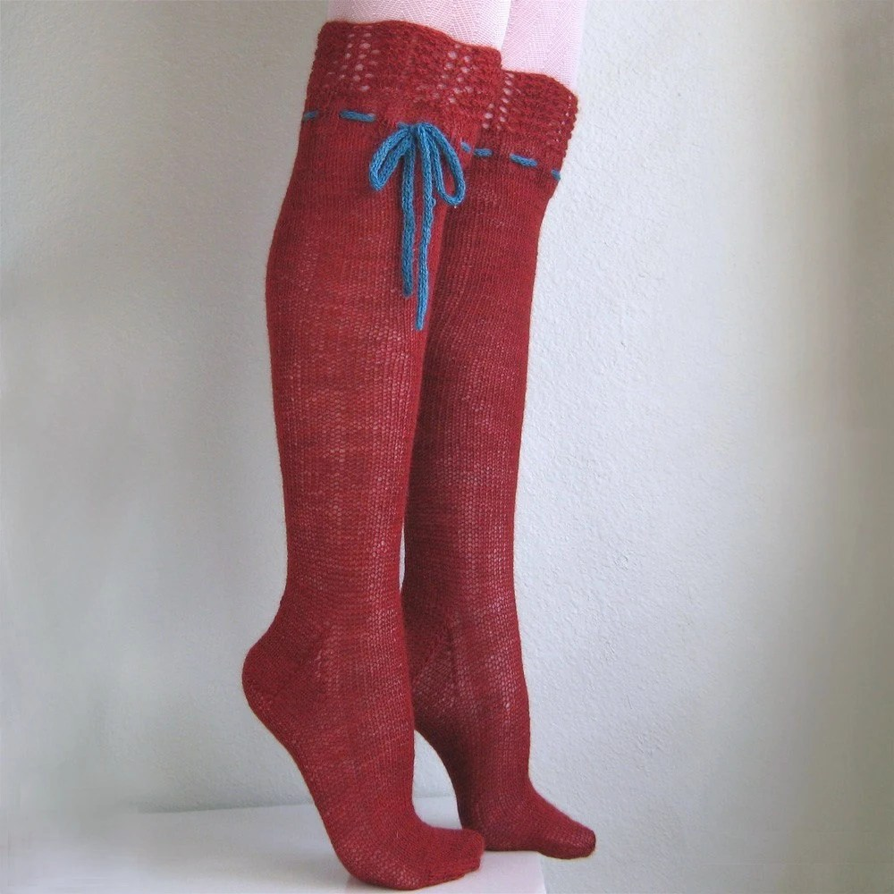 Knee High Socks Red Lace with ties