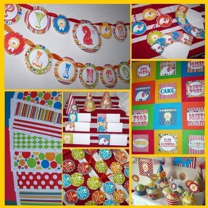 CUSTOMIZED Printable Party Package...DIY Circus by DimplePrints..Includes photo invite and photo thank you