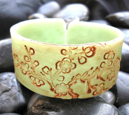 Jade Cuff Bracelet Asian Style  Cherry Blossoms
