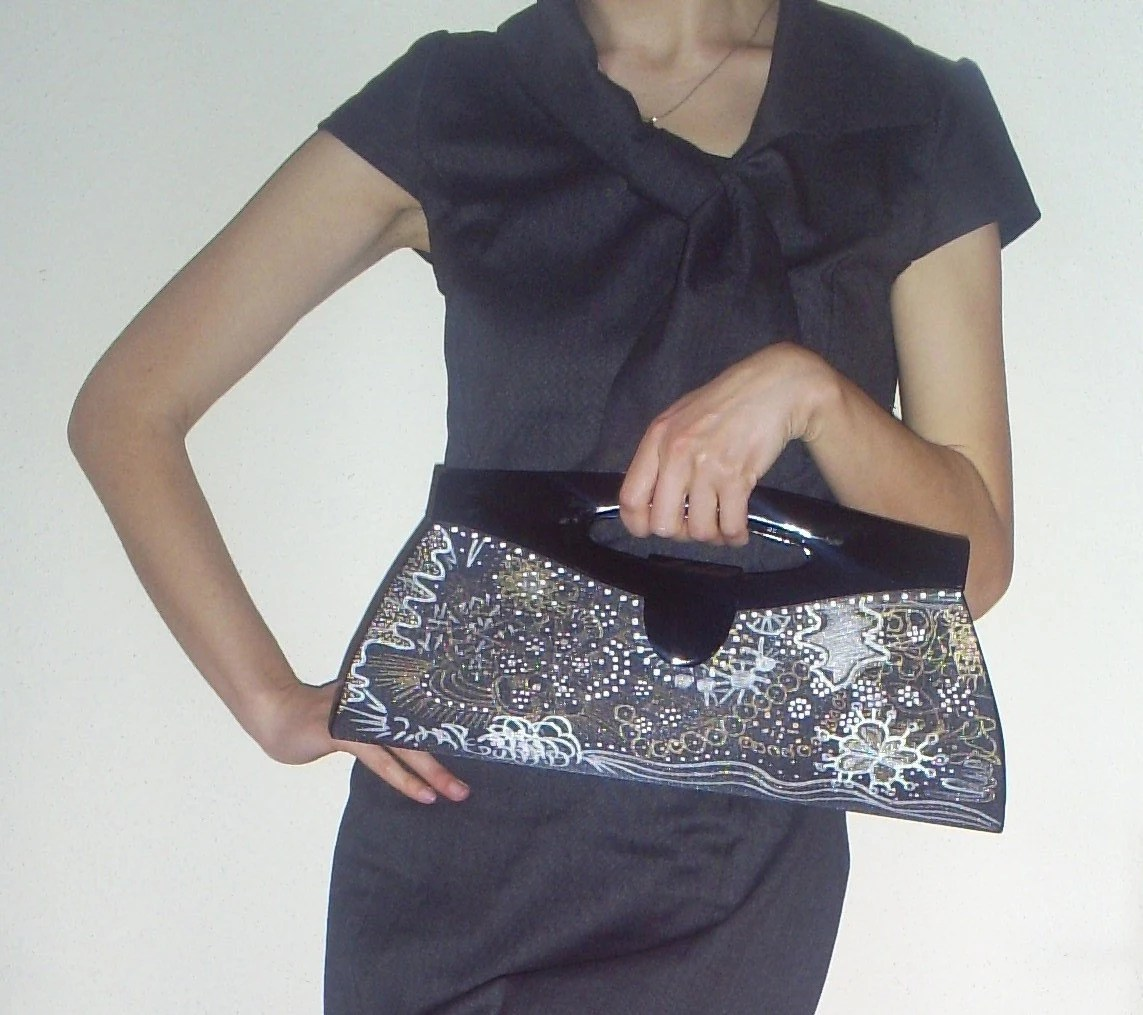 BLACK  Handpainted Clutch