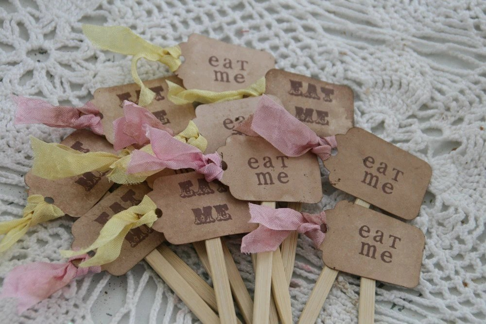 Brand New Design--- ALICE IN WONDERLAND -EAT ME or DRINK ME-cupcake, party picks- DISTRESSED-party favors, set of 12
