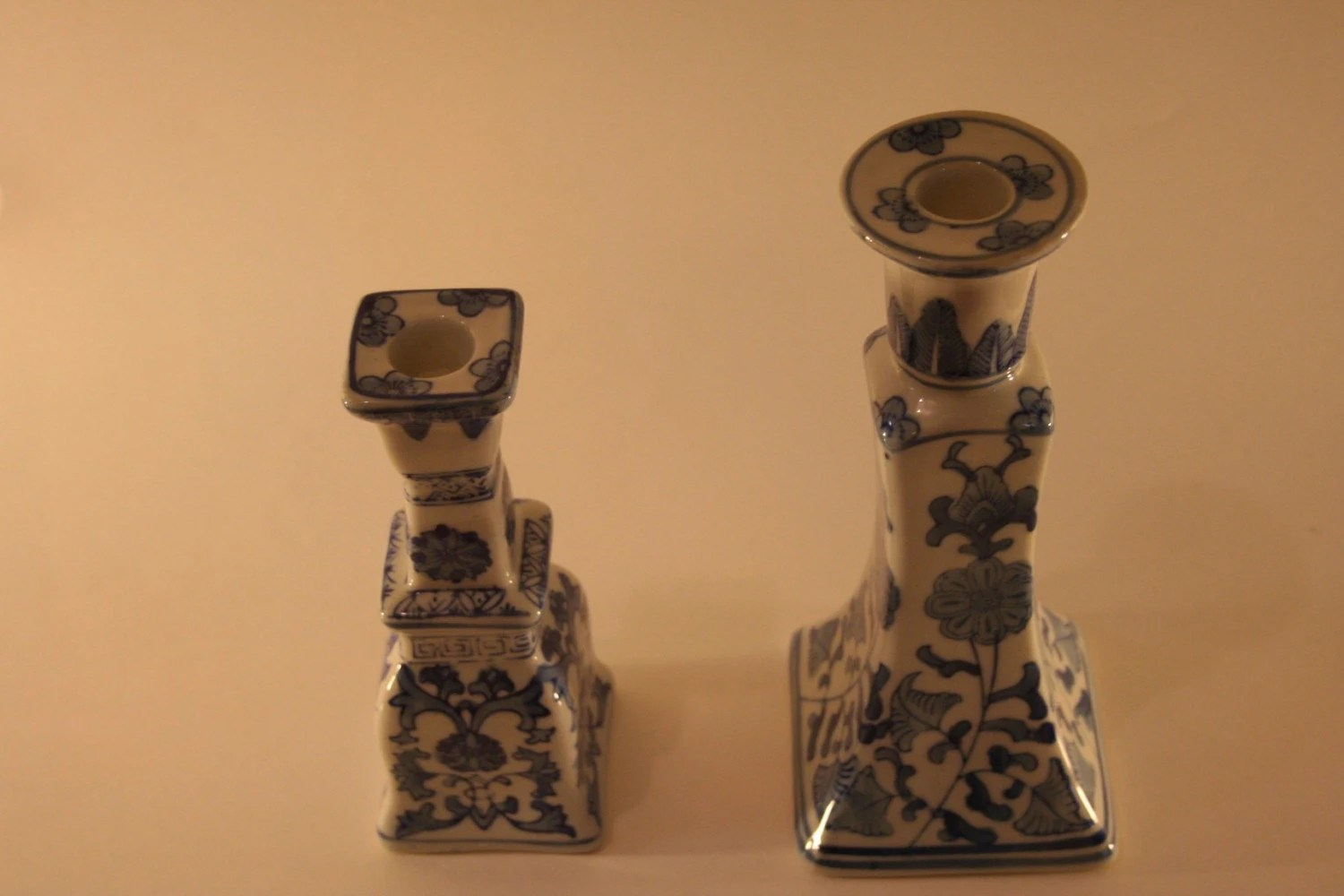Pair of Chinese Blue and White Candlesticks