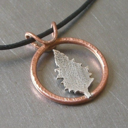 Copper Ring Around the Silver Cedar Tree Pendant by Beth Millner