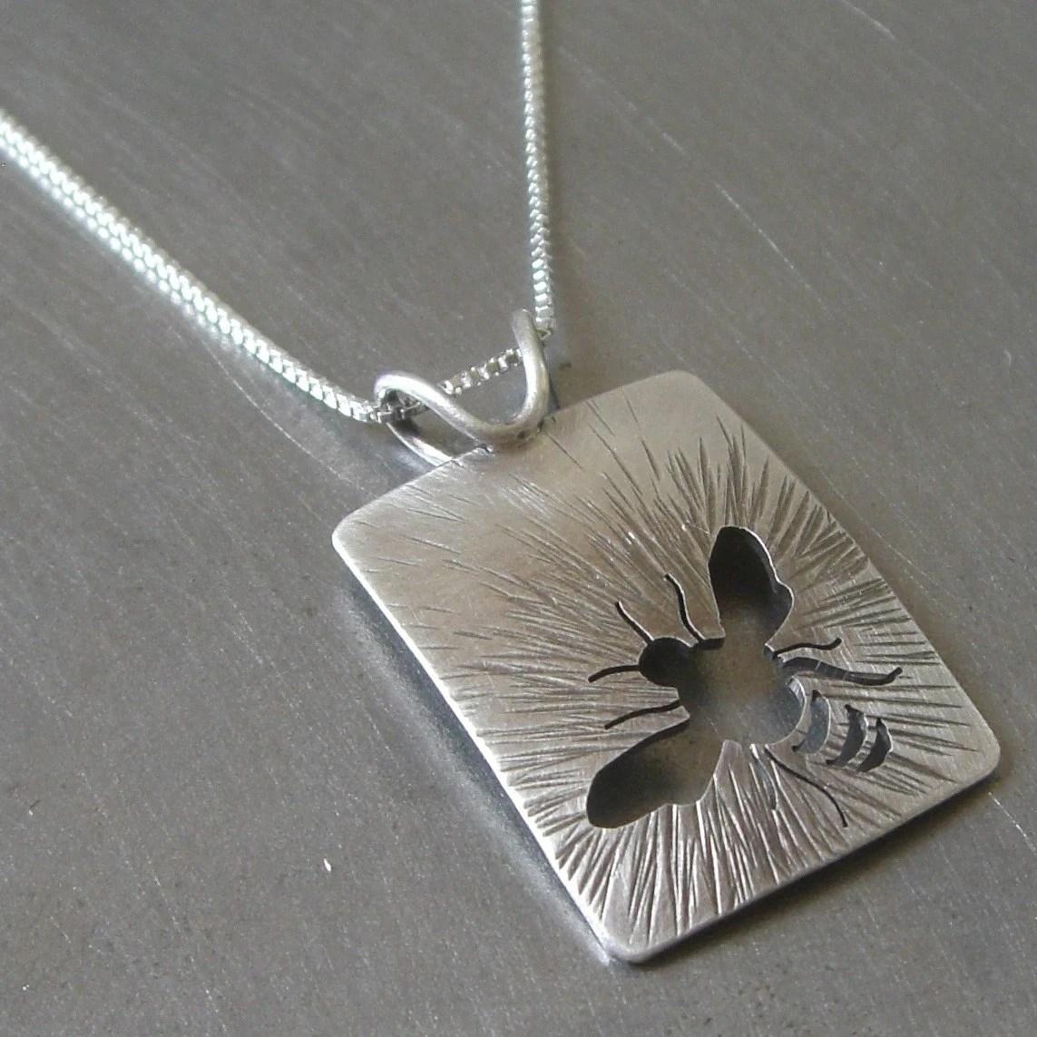 Silver Sunny Bee Pendant