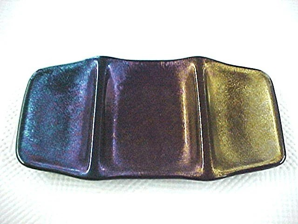 Rainbow Iridescent Glass Geometrix Divided Dish