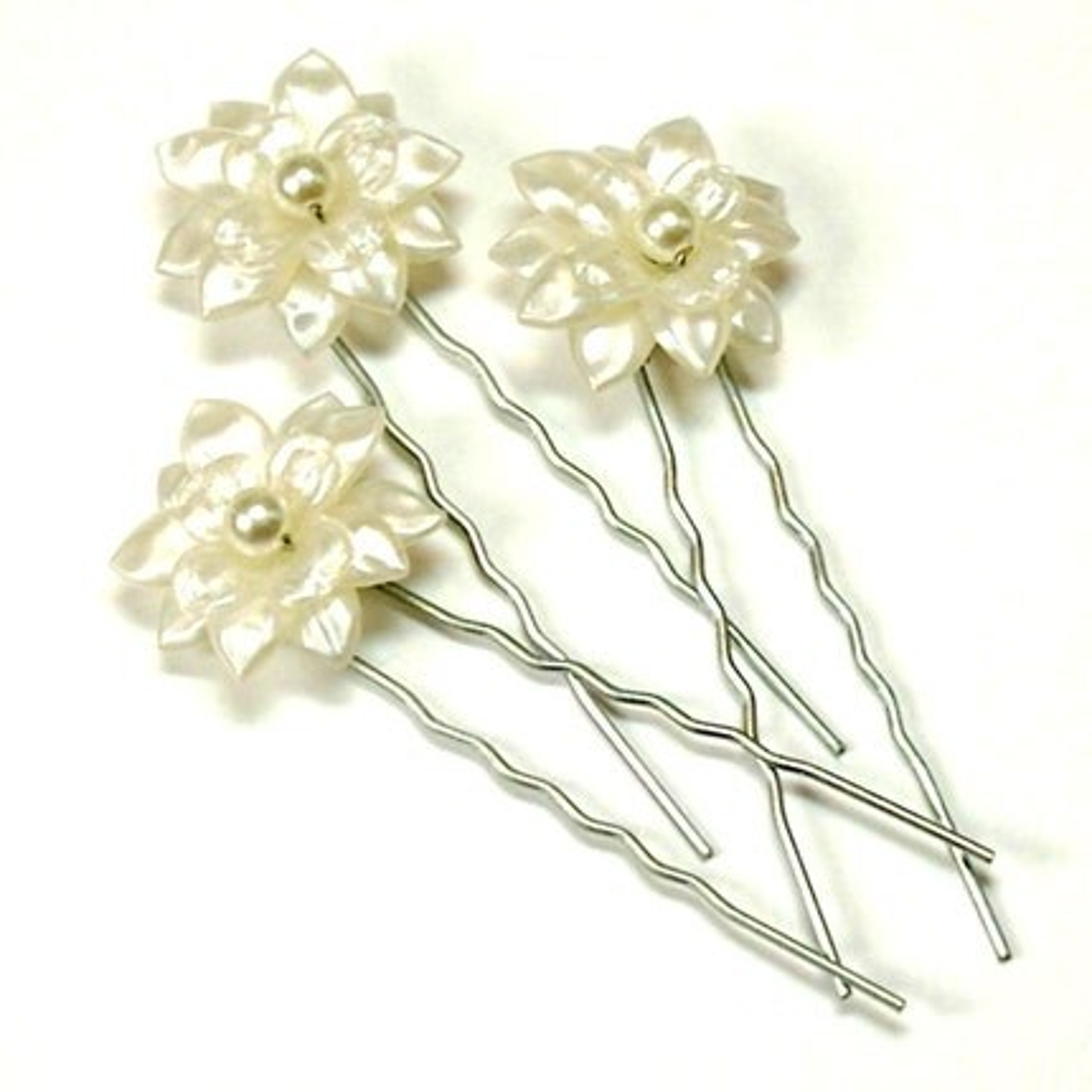 Fiona Ivory  Pearl Flower Bridal Hair Pins