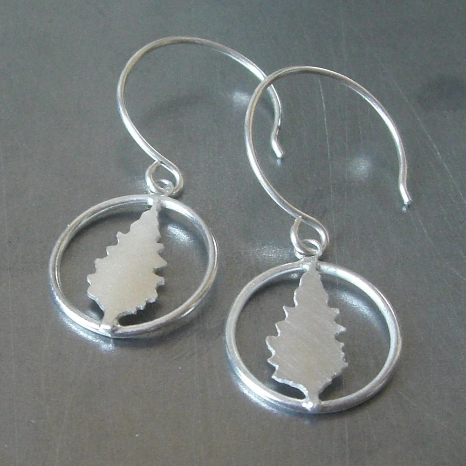 Around the Silver Cedar Tree Earrings