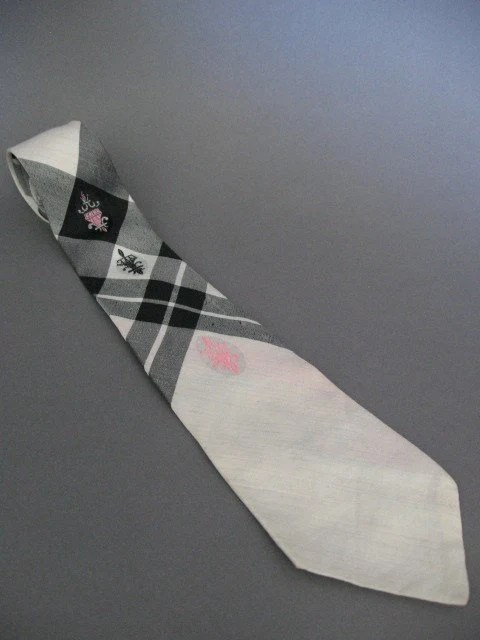 Vintage 50s Black White and Pink Rockabilly Regal Plaid Tie